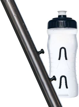 Picture of FABRIC CAGELESS WATER BOTTLE: 750ML, CLEAR/BLACK